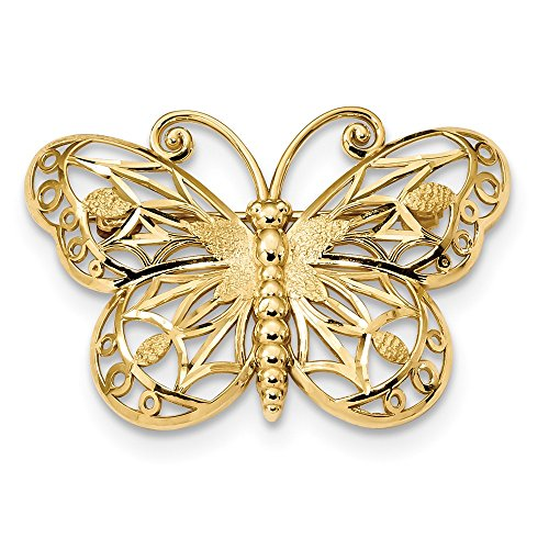 14K Diamond-cut Polished & Satin Butterfly Pin by Jewelry Adviser Tie Pins (Image #3)