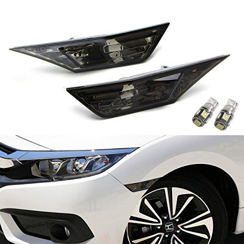 iJDMTOY (2) Xenon White LED Lights w/ JDM Smoked Lens Side Marker Lamps For 10th Gen Honda Civic Sedan/Coupe/Hatchback