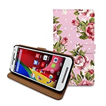 HelloGiftify Vintage Retro Flower Rose Wallet Flip Cover Leather Case for Moto X (2nd gen, 2014) (Pink)