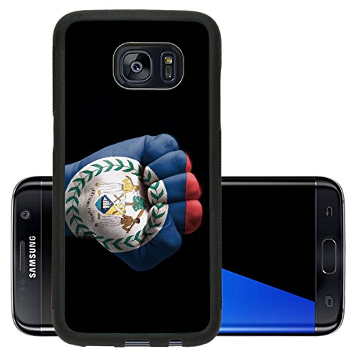 Liili Premium Samsung Galaxy S7 Edge Aluminum Backplate Bumper Snap Case IMAGE ID: 11064119 Low key picture of a fist painted in colors of belize flag