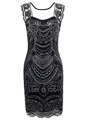 KAYAMIYA Women's 1920s Art Deco Beaded Embroidery Illusion Gatsby Flapper Dress