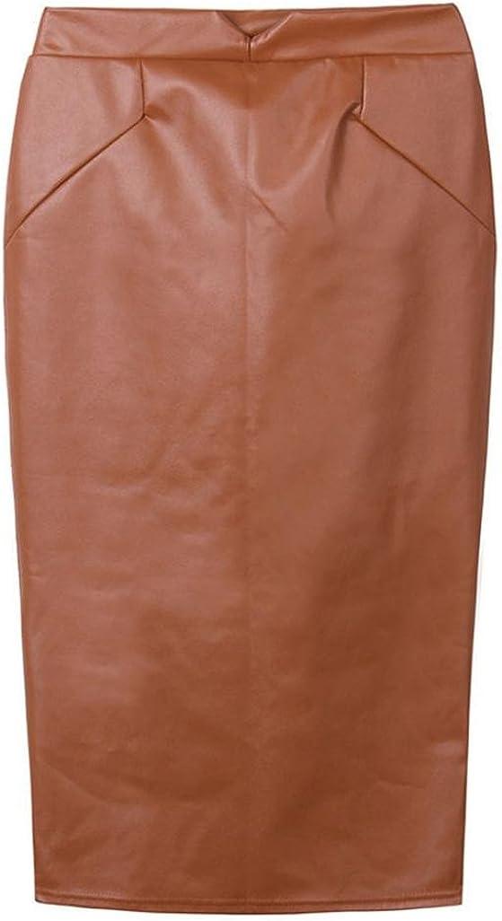 XILALU Women Fashion Leather Skirt High Waist Slim Party Pencil Skirt