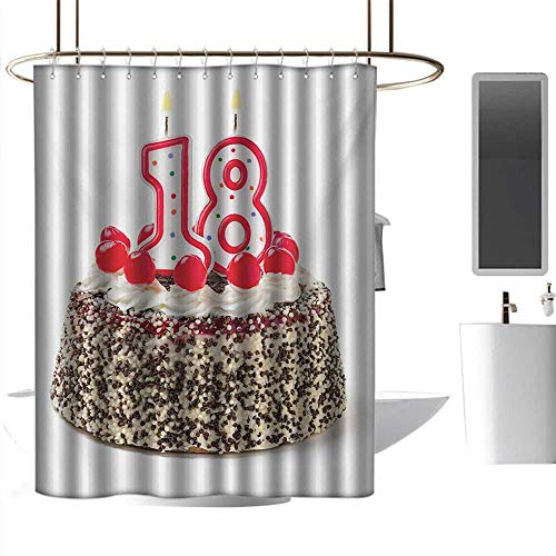 alisoso Modern Shower Curtains 18th Birthday,Sweet Eighteen Party Cake with Candles and Cherries Sprinkle Vibrant Photo,Multicolor 3D Printing Bath Curtain W48 x L72 ()