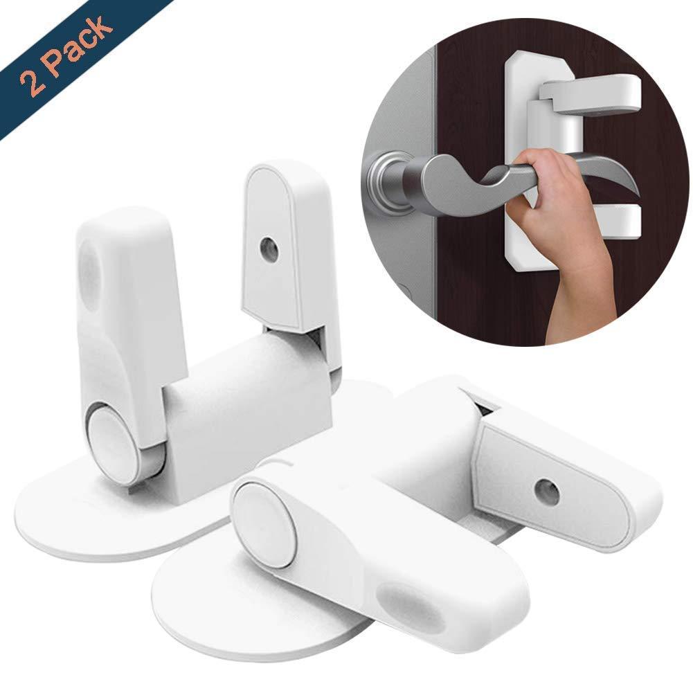 Bloqueo de maneta de puerta kimferd a prueba de niños manilla cerradura sin taladro sin tornillo con cinta adhesiva 3M de seguridad para bebé (2 unidades)