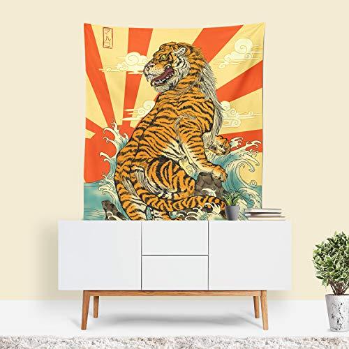 - Sharp Shirter Tiger Tapestry, Japanese Decor, Tiger Wall Art, Retro Decor, Mancave Decor, Quirky Wall Art, Yellow Fabric, Japanese Mural, Tiger Art (26x36)