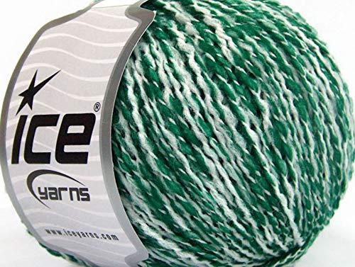 Florida Ice - Lot of 8 Skeins ICE Florida Lana (20% Wool) Hand Knitting Yarn Green White