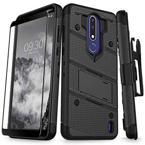 Nokia Series - Zizo Bolt Series Compatible with Nokia 3.1 Plus Case Military Grade Drop Tested with Full Glass Screen Protector Holster and Kickstand Black Black