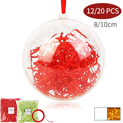 Clear Ornaments That Open (Shinyee Clear Fillable Ornaments Ball DIY Christmas Ornaments Xmas Clear Sphere Plastic Empty Round Ornaments Set,Christmas Tree Balls Ornaments Fill Big Orb Craft Champagne Gold(Golden-80mm-12)