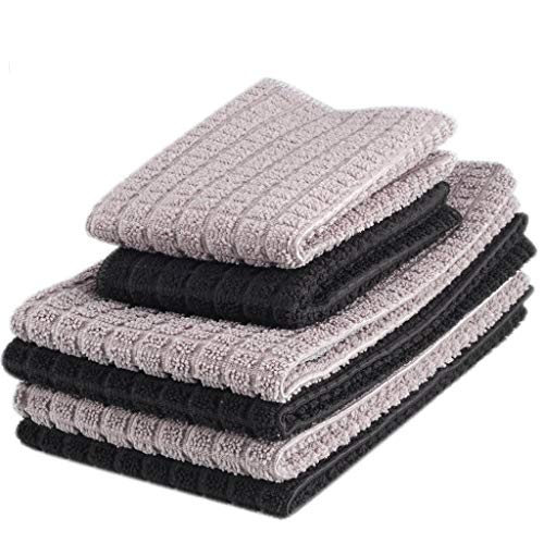 (Zksanmer 6 Packs Microfiber Kitchen Dish Cloth and Towel Set, Two Dish Cloth with Mesh Scour Side 12 x 12 Inch, Four Dish Towels 16 x 19 Inch, Absorbent and Fast Dry (Black and Gray Colors))