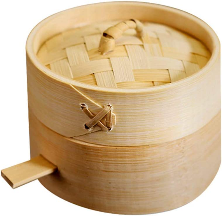 Yardwe 2 pcs Bamboo Steamer Mini Steamer Baskets Dim Sum Steamer Cooking for Vegetables Dumplings Buns Chicken Fish Meat 10cm
