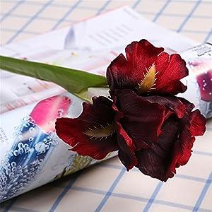 Delidge iris Artificial Flowers Home Decor- 5pcs Silk Real Touch Flower Bouquets Artificial Plant for Office,Home,Garden DIY 34