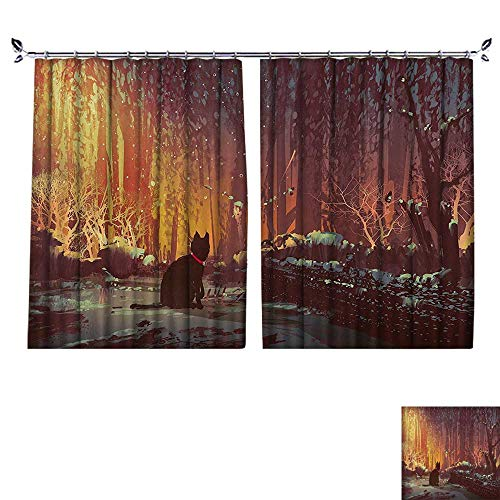 - PRUNUS Thermal Insulated Drapes with hookSurreal Lost Black Cat Deep Dark in Forest with Mystic Lights Windproof Function,W55 xL63