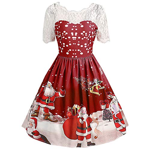 Women Christmas Vintage Santa Claus Print Lace Evening Party Dress Half Short Sleeve Dresses