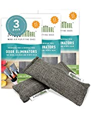 MOSO NATURAL Mini Odor Absorbers. for Shoes, Gym Bags and Sports Equipment. 3 Packs of 2 (6 Total)