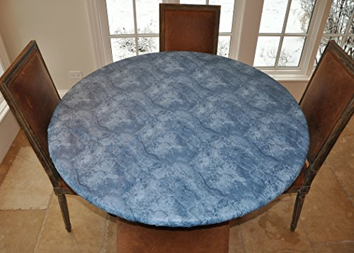 - LAMINET - Elite Elastic Edged Print Table Pad - Marble Blue - Large Round - Fits Tables up to 45