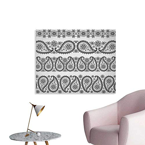 Anzhutwelve Paisley Wallpaper Winter Themed Design and Lace Like Ornaments with Flowers and Snowflakes Art Poster Paper Black and White W48 xL32