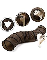 Eono Essentials Pet Cat Tunnel Collapsible S-Shaped Way with Peek-Holes Kitten Play Toy Tube Fun for Kitty Rabbit Puppy Ferret