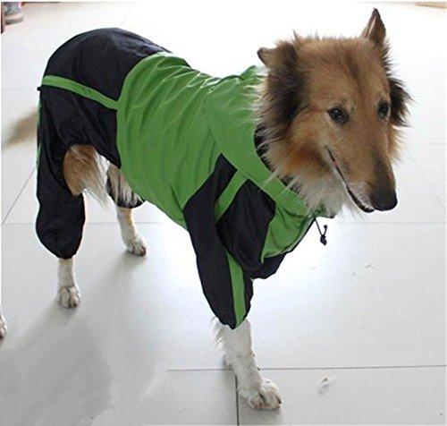 OCSOSO Four-legged Hooded Dog Rain Jacket Jumpsuit Rain Poncho Coat Slicker for Puppy, Medium to Large Dogs, Green (XL)