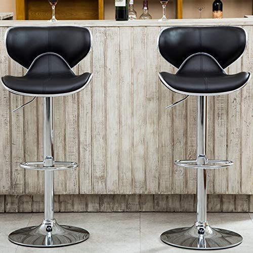 Roundhill-Furniture-Masaccio-Cushioned-Leatherette-Upholstery-Airlift-Adjustable-Swivel-Barstool-with-Chrome-Base,-Set-of-2,-Black