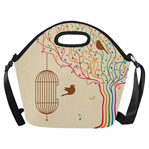 (Birdcage On The Musical Tree Large Reusable Insulated Neoprene Lunch Tote Bag Cooler, Vinatge Bird Music Note Portable Lunchbox Handbag with Shoulder Strap)
