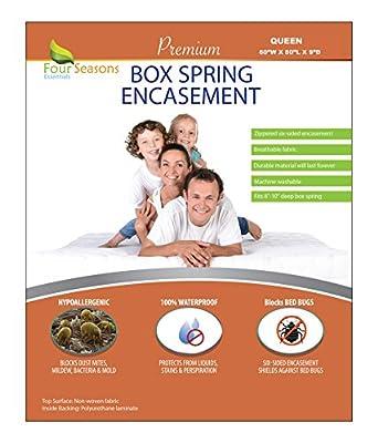 "Four Seasons Essentials Queen Size Box Spring Encasement (9"" D) - Bedbug Zippered Encasement Hypoallergenic Premium Quality Cover Protects Against Dust Mites Allergens"