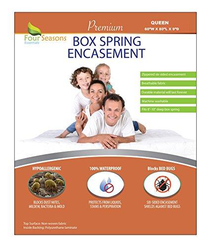 Linen Box Spring Cover - Four Seasons Essentials Queen Size Box Spring Encasement (9