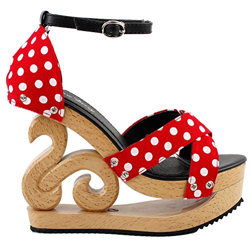 Leather Polka Dots Sandals - SHOW STORY Red White Polka Dots Wooden Wedge Platform Clogs Sandals Party Pumps,LF30834RD40,9US,Red
