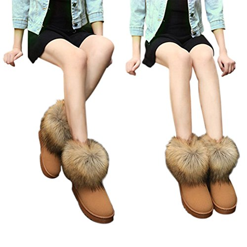 Kunstpelz Damen Bequeme Flache Winter Warme Stiefeletten Schuh Schnee Beiläufige Fluffy Frauen Kamelfarbe Haodasi wAIZW6SqRZ