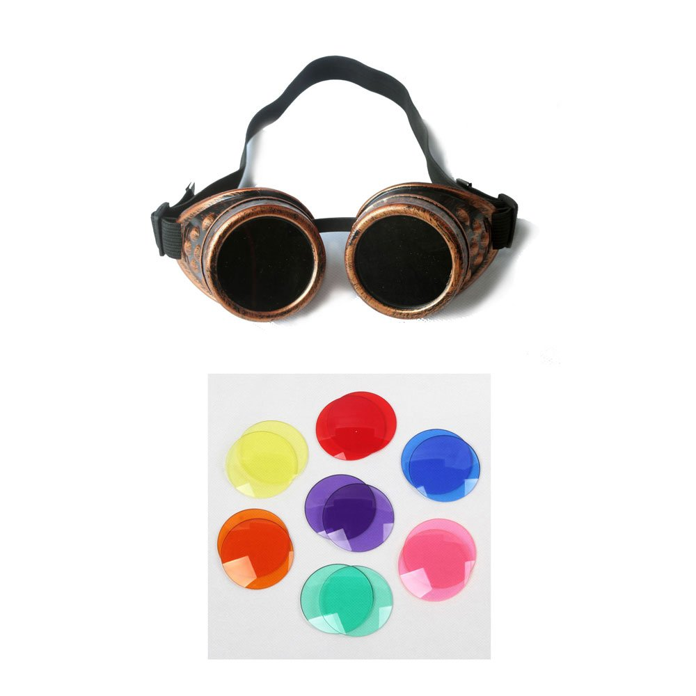 100% New ABS Costume Props Cosplay Vintage Steampunk Goggles Glasses Cyber Punk Gothic (Red Copper Frame)