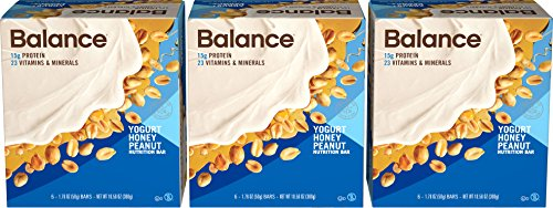 Balance Bar Yogurt Honey Nutrition Bars Yogurt Honey Flavored Protein Nutrition Bar 15g Protein 18-1.76oz. Bars (Pack of (Honey Nutrition Bar)