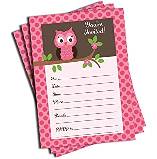 Amazon owl baby shower invitations its a girl fill in 50 pink owl invitations and envelopes large size 5x7 baby shower birthday filmwisefo