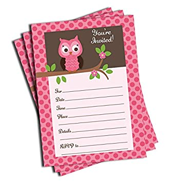 Amazon 50 Pink Owl Invitations And Envelopes Large Size 5x7
