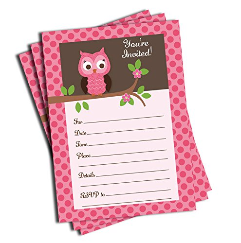 50 Pink Owl Invitations and Envelopes (Large Size