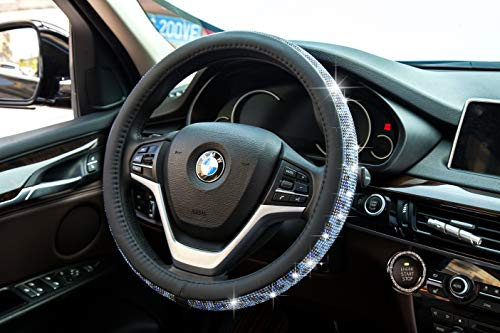 New Crystal steering wheel cover, PU leather Bling Bling Rhinestone, Black Universal 15-inch Protector for Female Girls. (Bing Black Blue)