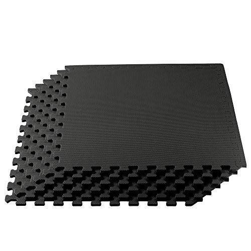 We Sell Mats Multipurpose Exercise Floor Mat with EVA Foam, Interlocking Tiles, Anti-Fatigue, for Home or Gym, 144 Square Feet (36 Tiles), 24 x 24 x 3/8 Inches, Black (Coloring Floors Concrete)