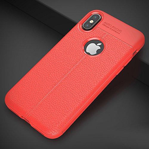 Apple iPhone X / iPhone 10 Hülle, MSVII® Anti-Shock Weich TPU Silikon Hülle Schutzhülle Case Und Displayschutzfolie für Apple iPhone X / iPhone 10 - Rot / RED JY90042