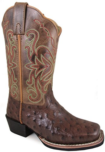 Price comparison product image Smoky Mountain Youths' Belle Pull On Distressed Square Toe Tobacco/Brown Crackle Boots 4M