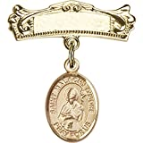 14kt Yellow Gold Baby Badge with St. Malachy O'More Charm and Arched Polished Badge Pin 7/8 X 3/4 inches