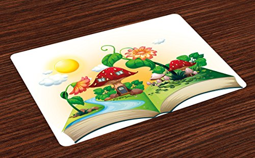 Lunarable Cartoon Place Mats Set of 4, Pop up Book with Mushroom House and Flowers River Forest Fun Nature Kids Print, Washable Fabric Placemats for Dining Room Kitchen Table Decor, Multicolor
