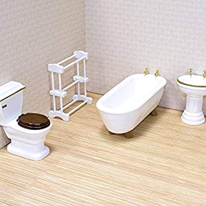 picture of Melissa & Doug Classic Wooden Dollhouse Bathroom Furniture (4 pcs) - Tub, Sink, Toilet, Towel Rack