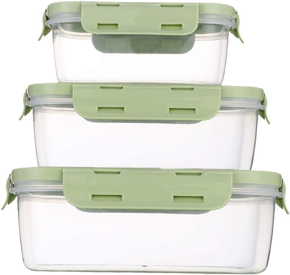 Food Storage Containers with Lids - Plastic Rectangular Food Containers with Lids - Lunch Containers with Lids - Meal Prep Containers -Leak Proof, Microwave & Dishwasher, Stackable, Reusable (green)