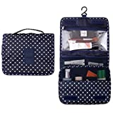Itraveller Hanging Toiletry Bag-Portable Travel Organizer Cosmetic Make up Bag case for Women Men Shaving Kit with Hanging Hook for vacation (Navy Point)