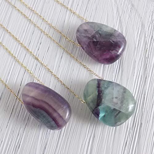 - Flourite Necklace Purple Green Crystal Pendant Gemstone Gold Layer Gypsy Boho Jewelry