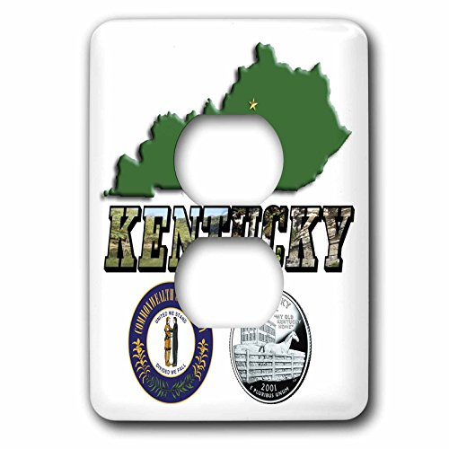 3dRose lsp_55439_6 State Map, Seal, Quarter And Picture Text Of Kentucky 2 Plug Outlet Cover