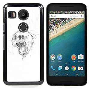 Grizzly Black Brown Bear Skull Drawing Caja protectora de pl¨¢stico duro Dise?ado King Case For LG Google Nexus 5X