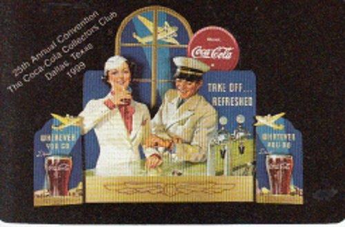 A Single Swap Playing Card 25th Annual Convention The Coca-Cola Collectors Club Dallas, Texas 1999 Stewardess Airline Pilot