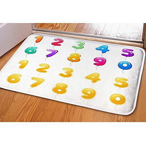 (iBathRugs Door Mat Indoor Area Rugs Living Room Carpets Home Decor Rug Bedroom Floor Mats,Set Colored Golden Balloons Numbers)