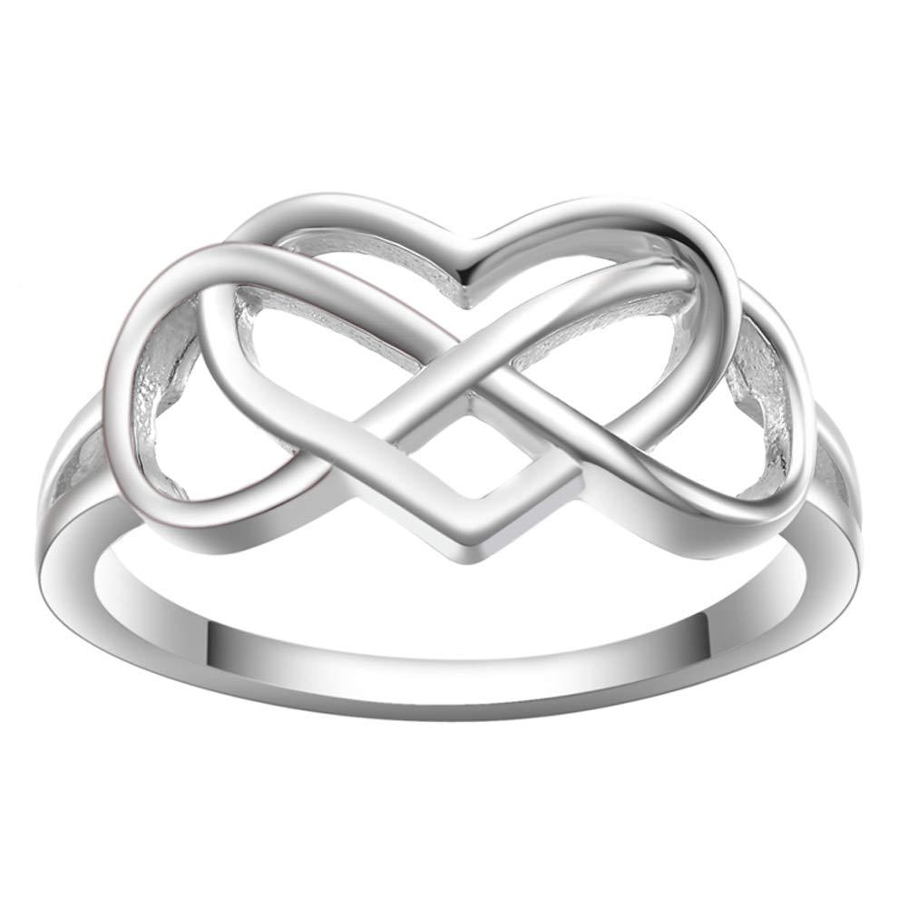 JAVENY 925 Silver Simple Plain Irish Celtic Knot Promise Engagement Bridal Wedding Rings for Women by JAVENY