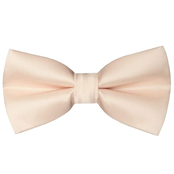 TIES R US Pre Tied Light Peach Satin Boys Bow Tie Age 8-11