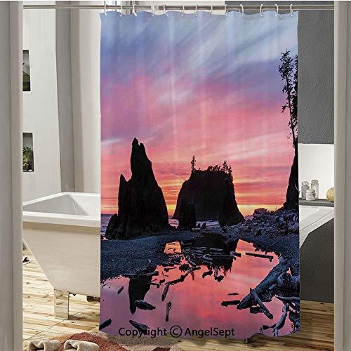 SfeatruCurtai Sunrise in a Slow Moving Stream Pinky Soft Mist Skyline Mystic Beach European Shower Curtain(59